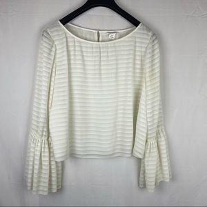Club Monaco Taisie White bell sleeve blouse top L